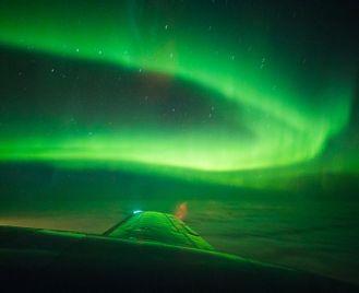 Northern Lights flight above Finnish Lapland